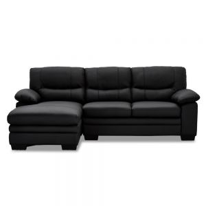 Moby chaiselong sofa venstrevendt, Sort/læder